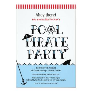 Cartão O aniversário do partido do pirata da piscina