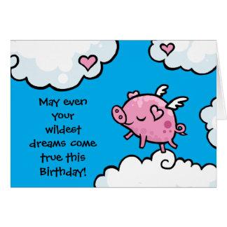Cartão O aniversário do porco do vôo sonha o modelo do