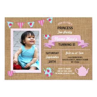 Cartão O aniversário do rosa da princesa tea party de