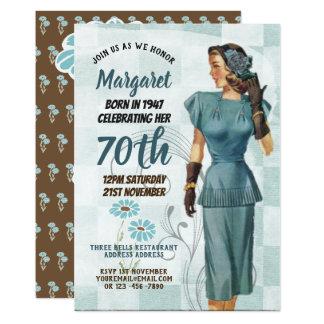 Cartão O aniversário elegante do 70 convida a mulher