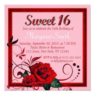 Cartão O aniversário elegante do doce 16 da rosa vermelha