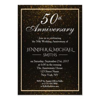 Cartão O aniversário elegante do preto e do ouro convida