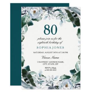 Cartão O aniversário floral do 80 do verde de jade da