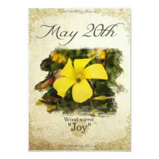 """Cartão O aniversário floresce o 20 de maio """"a azeda de"""