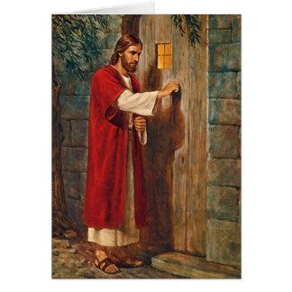 Cartão O aniversário Jesus bate na porta
