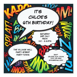 Cartão O aniversário personalizado da banda desenhada do