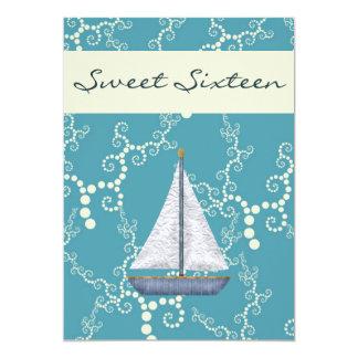 Cartão O aniversário personalizado do veleiro do doce 16