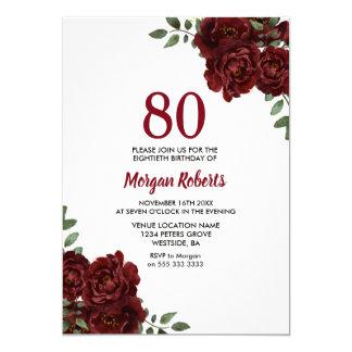 Cartão O aniversário romântico do 80 da rosa vermelha de
