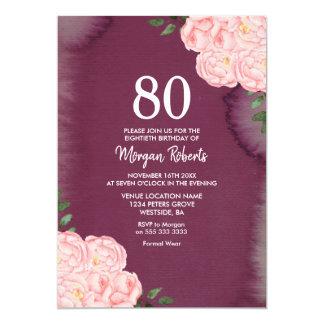 Cartão O aniversário roxo do 80 de Borgonha do rosa do