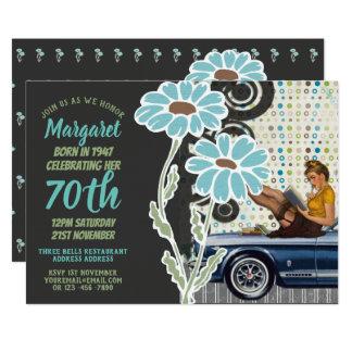 Cartão O aniversário Sassy do 70 convida a mulher dos