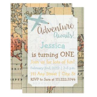 Cartão O aniversário temático do viagem convida