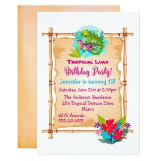Cartão O aniversário tropical de Luau do lagarto verde