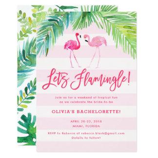 Cartão O aniversário tropical ou Bachelorette do flamingo