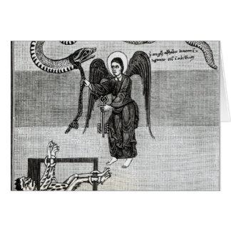 Cartão O anjo, guardarando as chaves do inferno