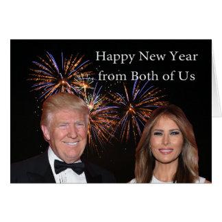 Cartão O ano novo carda do trunfo de Donald e de Melania