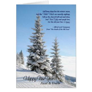 Cartão O ano novo para a tia & o tio - poema por Tennyson