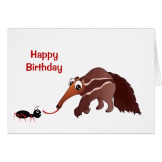 Cartão O Anteater encontra seu aniversário do almoço