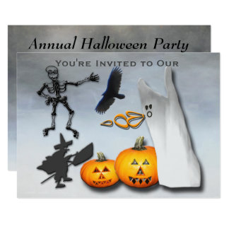 Cartão O anuário assustador do Dia das Bruxas convida