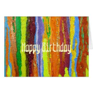 Cartão O arco-íris da arte abstracta do feliz aniversario