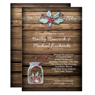 Cartão O azevinho rústico do Natal sae bagas do frasco de