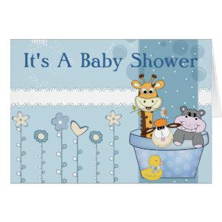 Cartão O azul bebé pontilha o chá de fraldas das flores