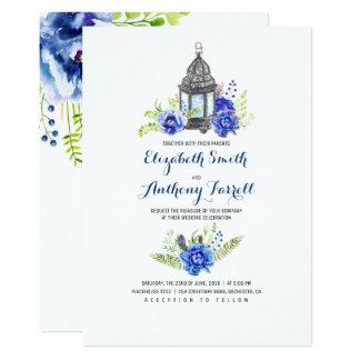 Cartão O azul floresce o casamento da aguarela da