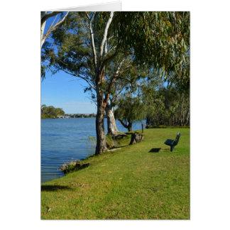 Cartão O banco de parque, Berri, Sul da Austrália,