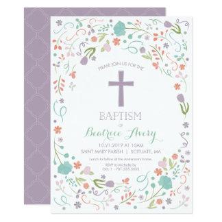 Cartão O baptismo, batismo convida - flores, cruz