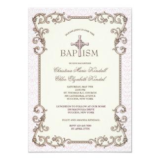 Cartão O baptismo cor-de-rosa do Velho Mundo junta o