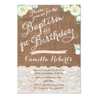 Cartão O baptismo e o primeiro aniversario brancos do