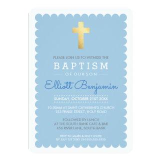 Cartão O baptismo moderno da CRUZ BONITO do OURO