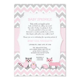 Cartão O bebê animal da floresta cor-de-rosa polvilha,