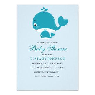 Cartão O bebé da baleia do bebê da mamã e do Bub rega o