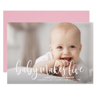 Cartão O bebê faz cinco