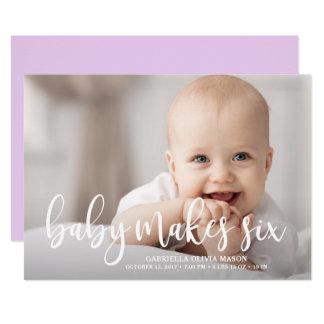 Cartão O bebê faz seis