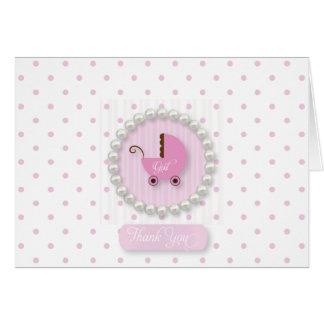 Cartão O bebê feminino das pérolas e das bolinhas