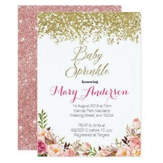 Cartão O bebê floral do ouro cor-de-rosa polvilha