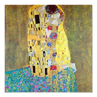 Cartão O beijo por Gustavo Klimt, arte Nouveau do vintage