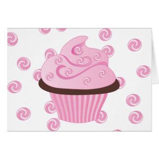 Cartão O bolo cor-de-rosa de Swirly com polvilha
