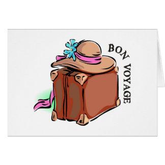 Cartão O bon voyage, tem uma boa viagem! Bagagem & chapéu