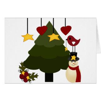 Cartão O boneco de neve bonito da árvore dos feriados do