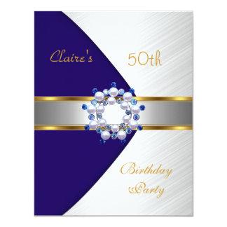 Cartão O branco azul do marinho do ouro convida a 50th