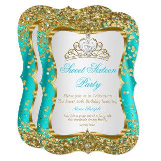 Cartão O branco do ouro da princesa Doce 16 da tiara da