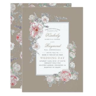 Cartão O branco e cora casamento floral do vintage da