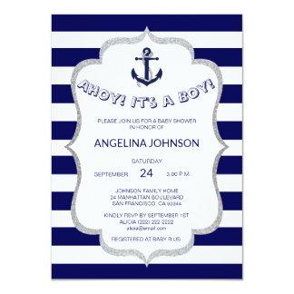 Cartão O branco náutico dos azuis marinhos listra o CHÁ