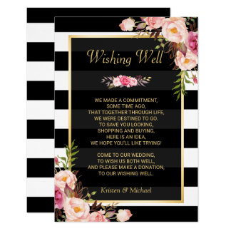 Cartão O branco preto floral listra o desejo Wedding de  