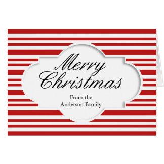 Cartão O branco vermelho do Feliz Natal listra