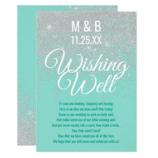 Cartão O brilho branco Glam Sparkles cerceta que deseja