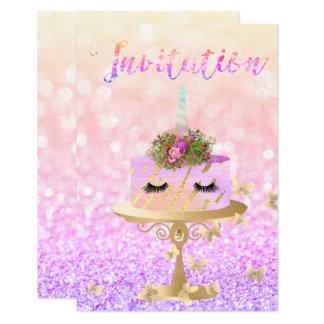 Cartão O brilho cor-de-rosa do ouro do unicórnio do bolo
