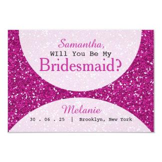Cartão O brilho cor-de-rosa seja minha dama de honra